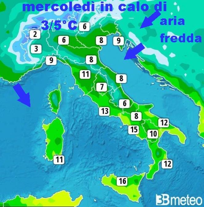 Mercoledì nuovo calo delle temperature di 3/5°C al Nord, parte del Centro e Sardegna