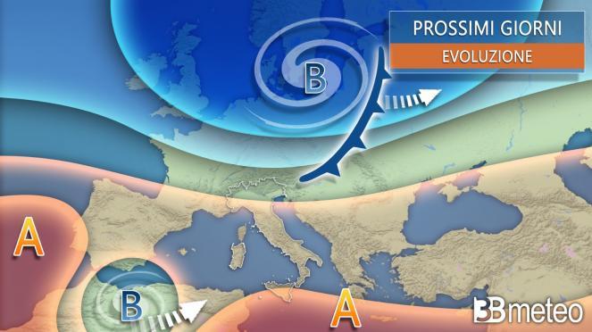 Meteo. Prossimi giorni anticiclone con qualche disturbo all'altezza dell'Italia