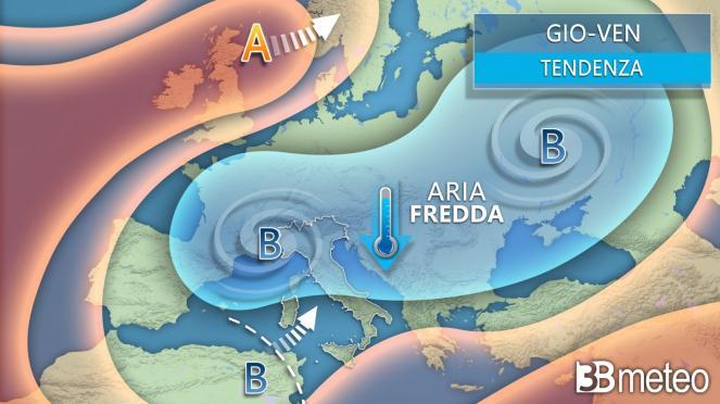 Meteo. Tra giovedì e venerdì depressione fredda sull'Europa centro-orientale, coinvolta anche l'Italia