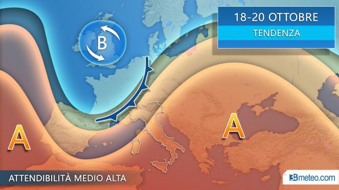 meteo 18-20 Ottobre nuova offensiva atlantica