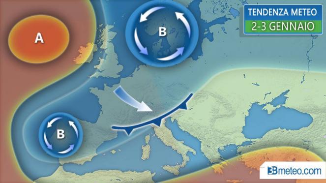 meteo 2-3 gennaio, perturbazione in transito