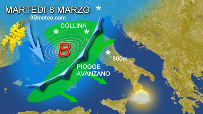 meteo 8 marzo in Italia