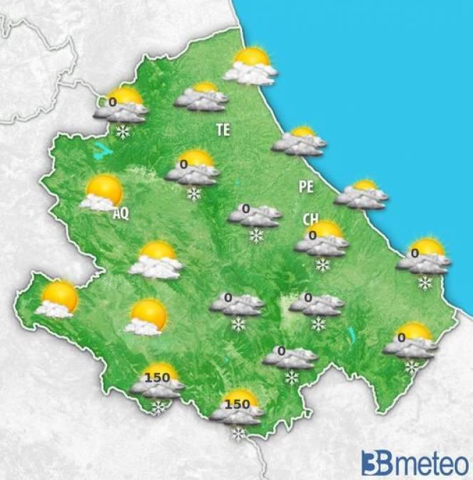 Meteo Abruzzo, la previsione per sabato
