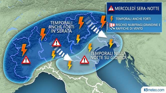 Meteo attenzione ai forti temporali entro stasera al Nord