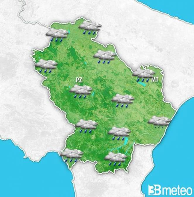 Meteo Basilicata, piogge nelle prossime ore