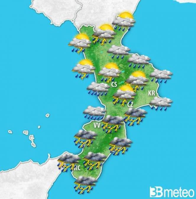 Meteo Calabria maltempo e forti temporali