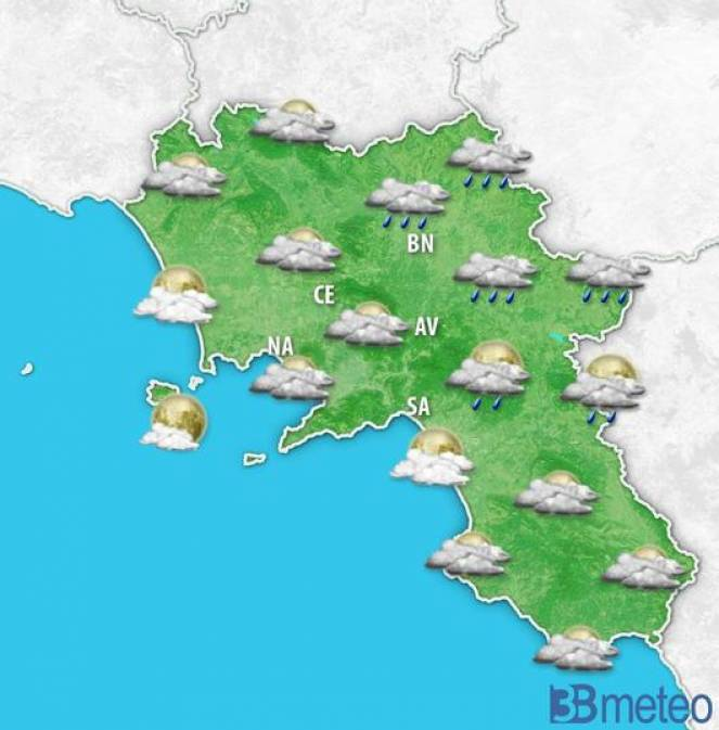 Meteo Campania, qualche pioggia nelle prossime ore