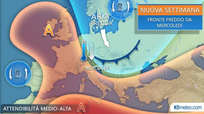 Meteo, da mercoledì cambia tutto, fronte freddo con temporali e calo termico