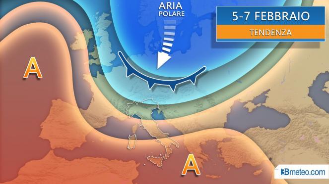 Meteo dal 5 febbraio correnti polari in marcia verso sud