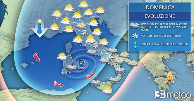 Meteo domenica. Instabile e freddo al Centro-Sud e su parte del Nord