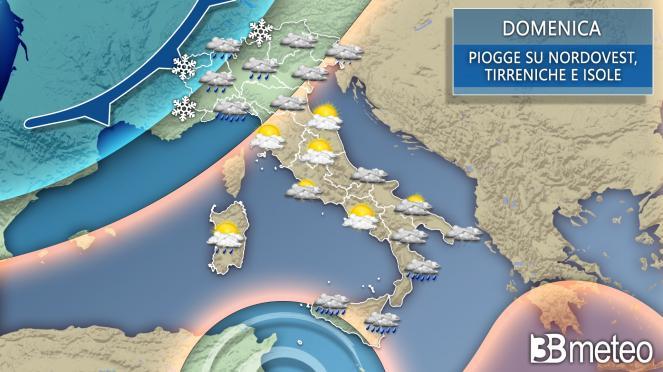 meteo domenica in Italia