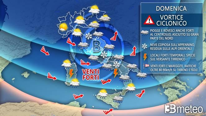 Meteo domenica, previsioni prossime ore