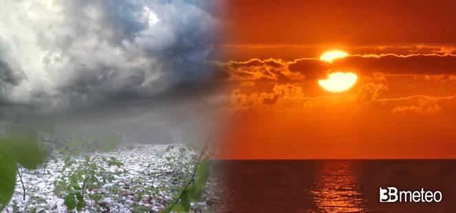 Meteo domenica tra caldo intenso e violenti temporali in arrivo