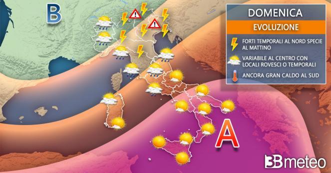 Meteo domenica, tra violenti temporali e oltre 40°°C