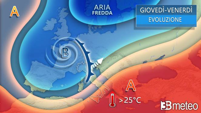 Meteo evoluzione giovedì-venerdì Italia-Europa
