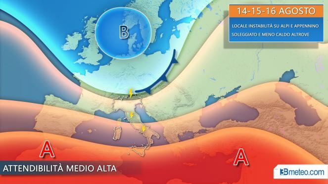 Meteo Ferragosto, sole prevalente, qualche piovasco su Alpi e Appennino