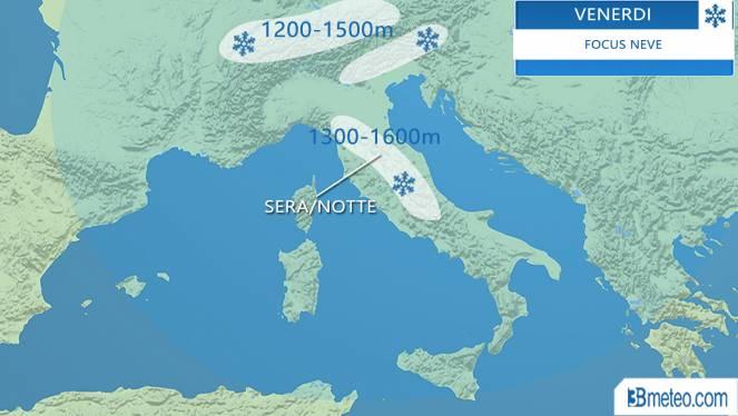 Meteo: focus neve venerdì 17