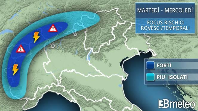 Meteo focus temporali martedì-mercoledì