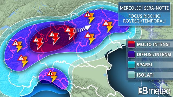 Meteo focus temporali mercoledì sera-notte al Nord