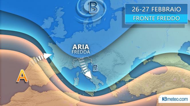 Meteo fronte freddo subito dopo l'ultimo di Carnevale, gli effetti sull'Italia