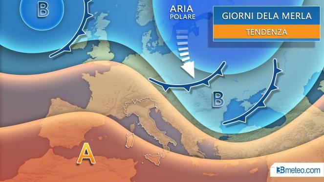 Meteo giorni della merla in Italia, tendenza