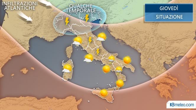 Meteo giovedì - Qualche temporale sull'Italia