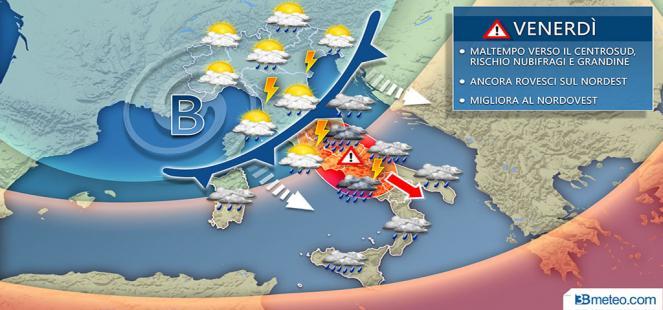 MALTEMPO verso il Centrosud, temporali sul Nordest: rischio NUBIFRAGI E GRANDINE