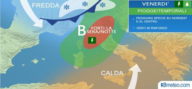 Veloce MALTEMPO tra venerdì e sabato: piogge, temporali, neve e sabbia
