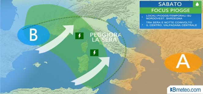 WEEKEND: piogge e temporali su alcune regioni, calo termico da domenica sera