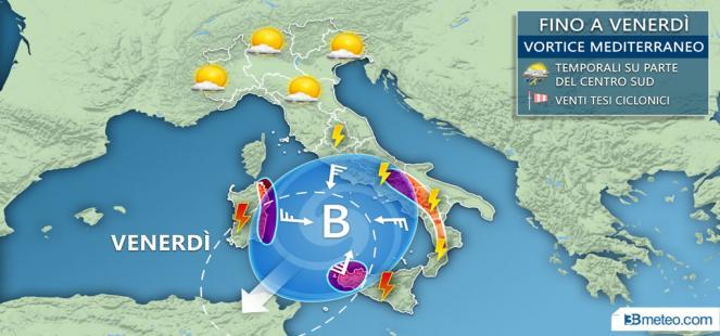 VORTICE CICLONICO: temporali anche forti, rischio NUBIFRAGI su Sicilia e Sardegna