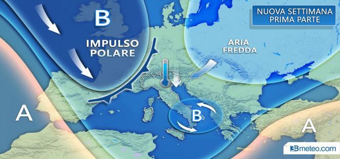 Prossima settimana IMPULSI POLARI sul Mediterraneo: MALTEMPO, pioggia e *NEVE*