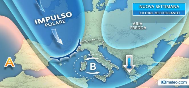 In arrivo IMPULSO POLARE con CICLONE mediterraneo: maltempo, vento e anche NEVE