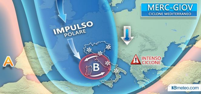 IMPULSO POLARE tra mercoledì e giovedì con CICLONE mediterraneo, vento e *NEVE*