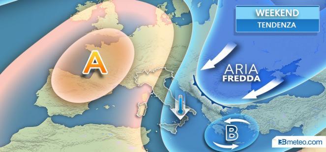 WEEKEND: l anticiclone sarà attaccato da una IRRUZIONE FREDDA dai Balcani