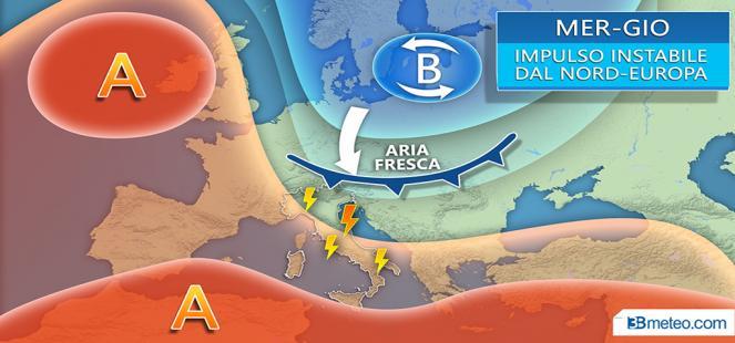 Mercoledì-giovedì: IMPULSO DAL NORD EUROPA. Forti TEMPORALI e CALO TERMICO