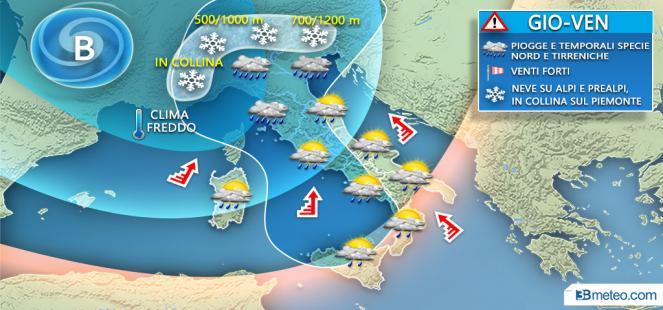 Di nuovo MALTEMPO da giovedì con pioggia, VENTO e *NEVE* anche a QUOTE BASSE