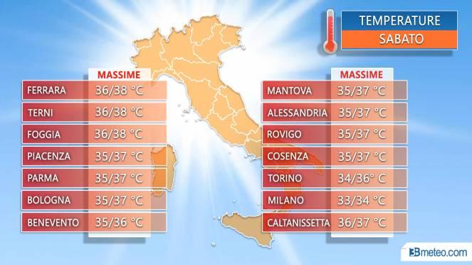 Meteo Italia: alcune massime previste sabato 6