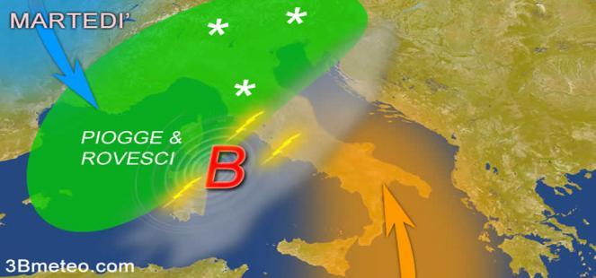 Meteo Italia: altre piogge martedì