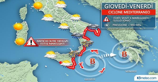 Meteo Italia: ciclone mediterraneo, probabile Medicane. Situazione e previsioni