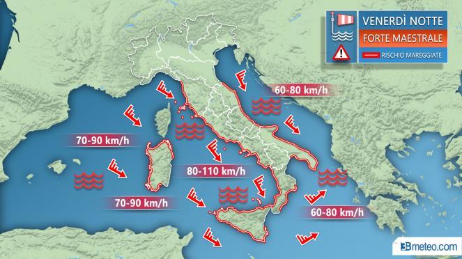 Meteo Italia - Dettaglio vento atteso la notte di venerdì
