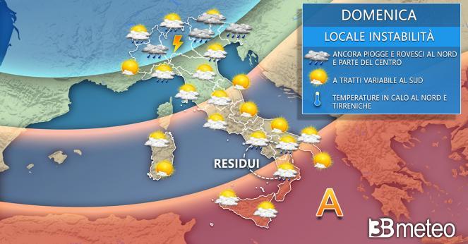 Meteo Italia domenica. Instabile a tratti al Nord