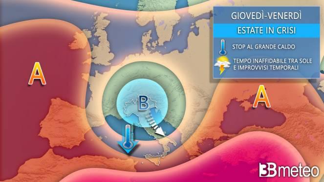 Meteo Italia-Europa giovedì-venerdì, evoluzione