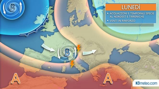 Meteo Italia: evoluzione prevista per lunedì