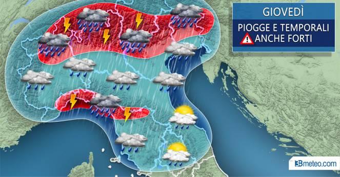 Meteo Italia: focus maltempo giovedì