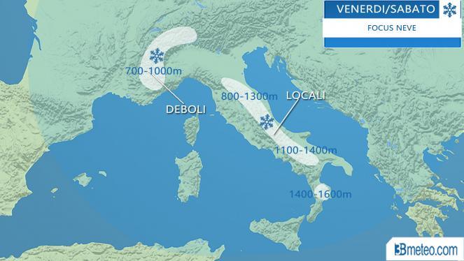 Meteo Italia: focus neve in arrivo