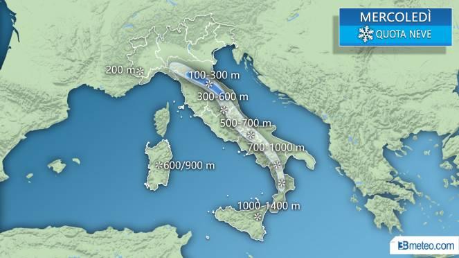 Allerta neve giovedì 22 febbraio: a Parma previsti 15 centimetri