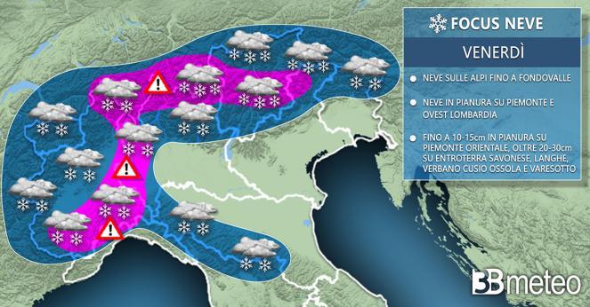 Meteo Italia: focus neve prevista venerdì