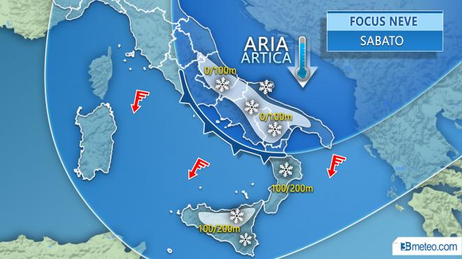Meteo Italia: focus neve sabato