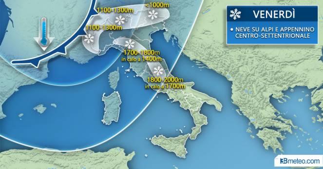 Meteo Italia: focus neve venerdì