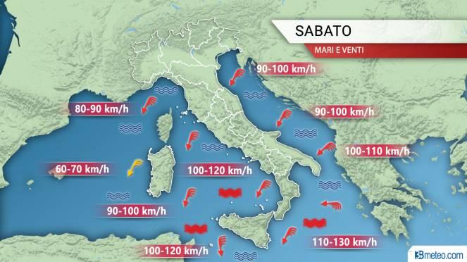 Meteo Italia: focus venti sabato